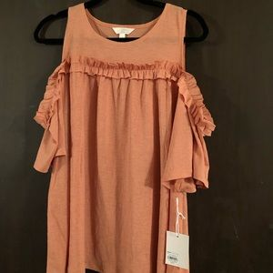 LC Lauren Conrad Ruffle Cold Shoulder Top